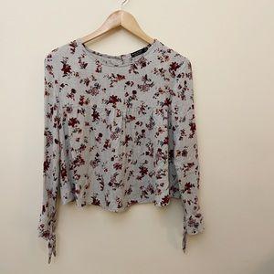 Bershka gray floral blouse